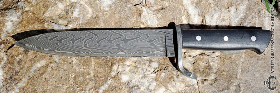 Jagdmesser mit Damastmuster: wilder Damast