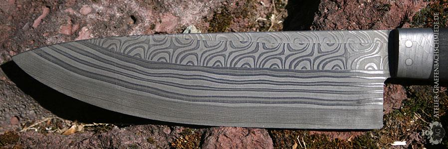 Schmiedekurs Detail Küchenmesser aus Damaststahl