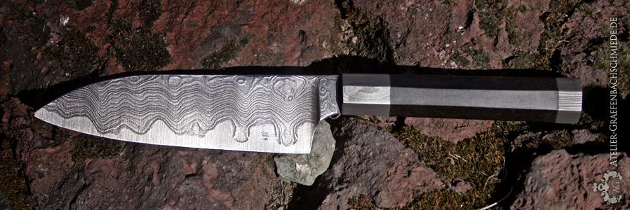 Schmiedekurs Küchenmesser, oktaedrischer Griff-Damast und Ebenholz