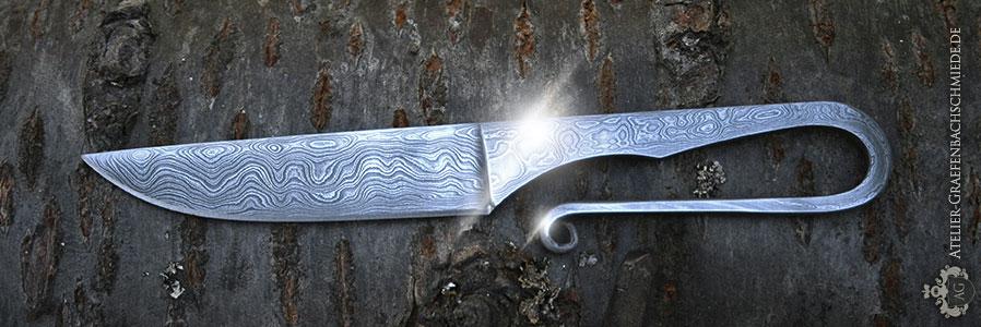 Wikingermesser aus wildem Damast, Schmiedekurs Damastmesser