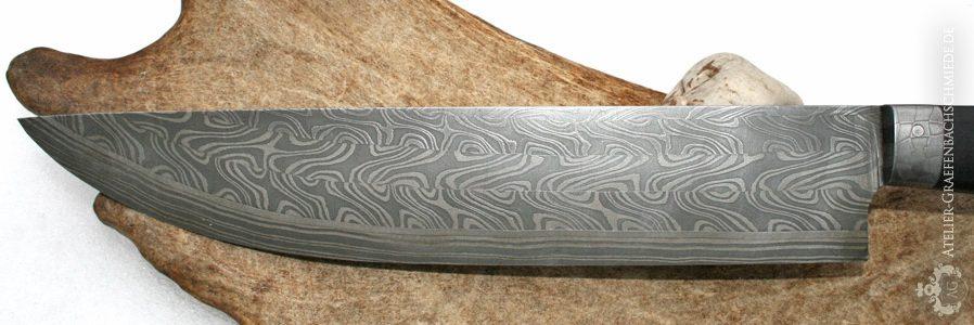 Messerschmiedekurz Detail Damastmuster